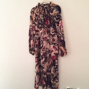 Botanical print butterfly maxi dress w pockets 14